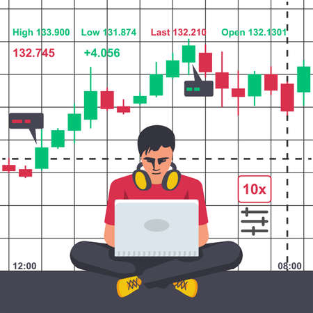 Young modern man with laptop trades on financial stock exchange. Tradings concept. Stock exchange. Forex market. Vector illustration flat design.