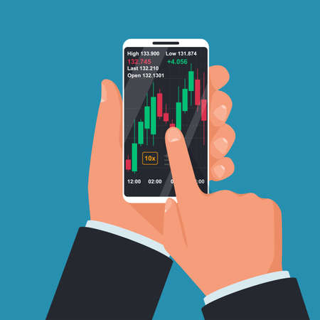 Phone screen with financial trading graph. Trades on financial stock exchange. Tradings concept. Stock exchange. Forex market. Vector illustration flat design.
