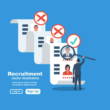 Recruitment concept. Businessman employer search resume staff selects candidates. Vector illustration flat design. Landing page for banner, presentation, social media, web page. Human resources.