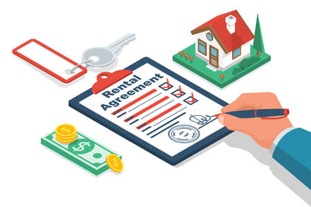 Rental agreement. Real estate contract. Human signs a document. Rental and selling real estate. Vector illustration isometric design. Isolated on background. Private house, stack of money and keys.