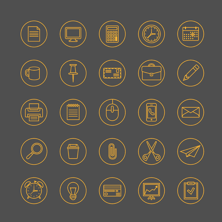 office icons: Thin line office icons set.
