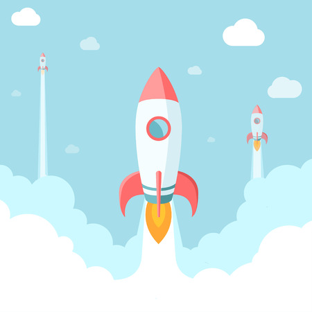 launch: Startup illustration. Rockets in the clouds. Modern flat style.