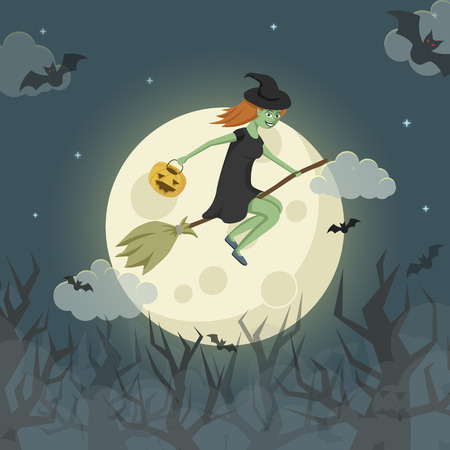 spooky forest: Pretty young witch on a broomstick flying over the spooky forest in front of the moon. Vector Halloween illustration.