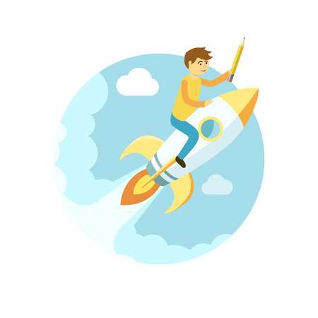 man flying: Young man flying on the rocket in the sky. Flat style vector startup illustration Illustration