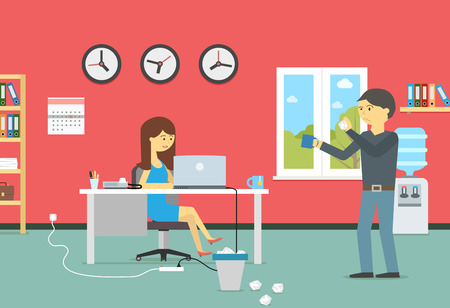 Woman working with a laptop and resting man with a coffee in the office Vector flat style illustration Illustration