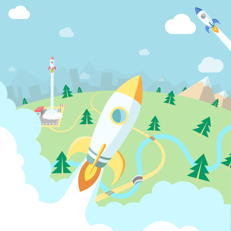 city landscape: Flying rockets. Mountains, forest and city landscape, Business startup illustration.