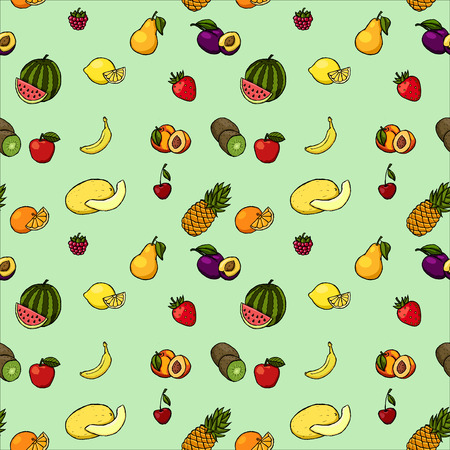 diet cartoon: Colorful hand drawn seamless pattern with fruits and berries.