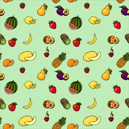 platano caricatura: La mano de colores dibujado sin patr�n, con frutas y bayas.