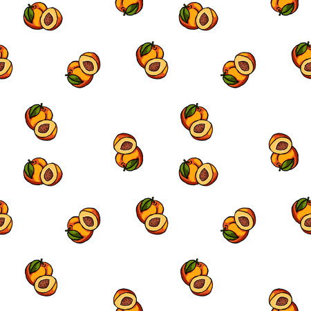 Vector hand drawn seamless peaches pattern. Ilustrace