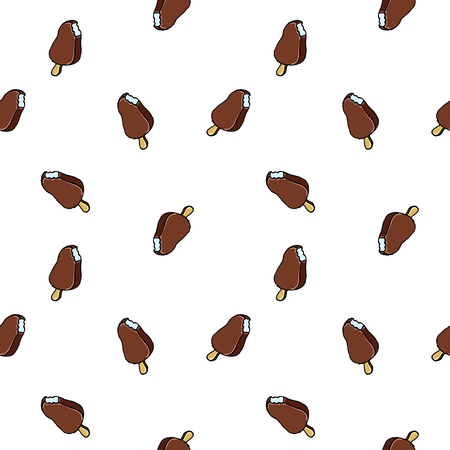 Colorful hand drawn vector ice cream seamless pattern.