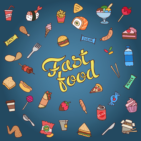 Colorful hand drawn fast food vector illustration.