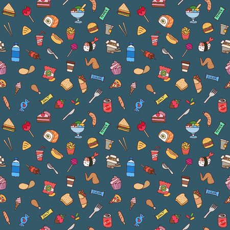 Colorful hand drawn fast food seamless pattern. Ilustrace
