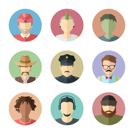 cartoon police officer: Flat characters. Set of male faces. Man avatar collection.
