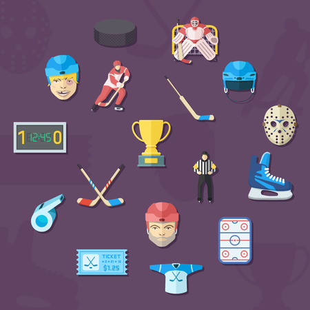 hockey goal: Hockey icons set. Flat style