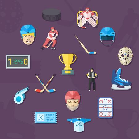 Hockey icons set. Flat style