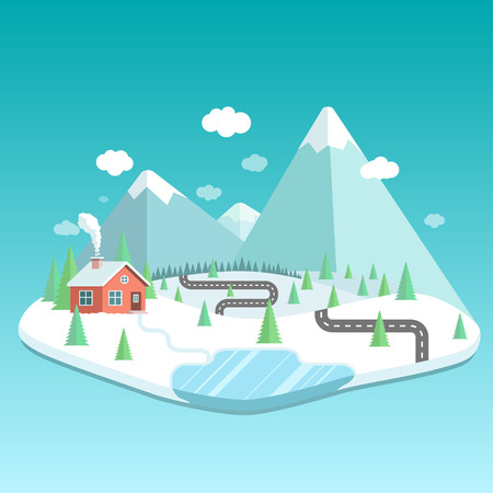 Winter landscape with mountains, forest and lake. House in the forest flat illustration.