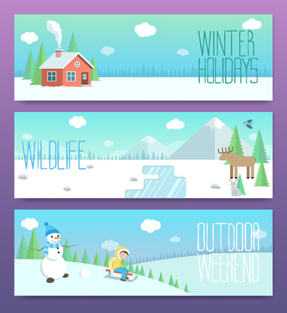 Cute winter banners. Outdoor weekend holidays wildlife.Horizontal cards template. Flat illustrations set.