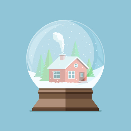 Christmas snow globe with house in the forest inside. Flat illustration. Ilustrace