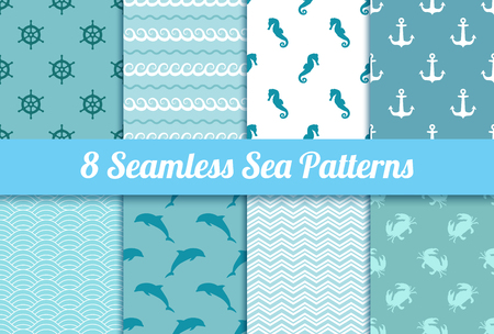 Set of seamless sea patterns. Wave, anchor, dolphin, crab, steering wheel and sea horse textures.