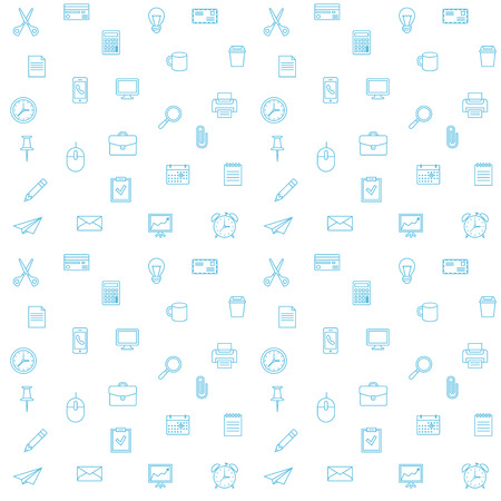 Office supplies seamless pattern. Thin lines office icons background.