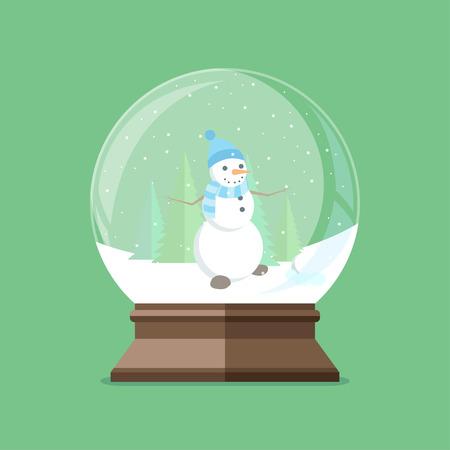Christmas snow globe with snowman inside. Flat illustration.