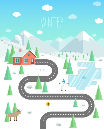 Winter landscape with mountains, forest and lake. Weekend in nature. House in the forest flat illustration