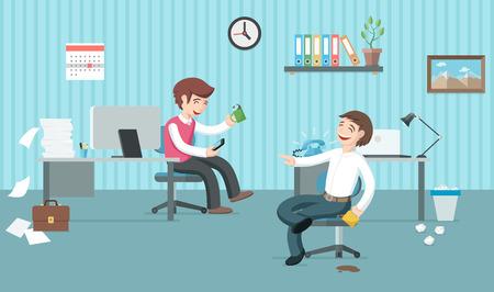perezoso: Dos trabajadores de oficina perezosos tienen un montón de trabajo, pero se están divirtiendo y beber café. Día de oficina. Pausa café ilustración plana.