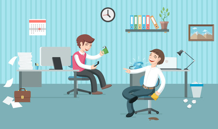 Two lazy office workers have a lot of job but they are having fun and drinking coffee. Office days. Coffee break flat illustration.