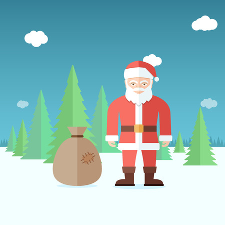Santa Claus in the forest. Flat vector illustration.