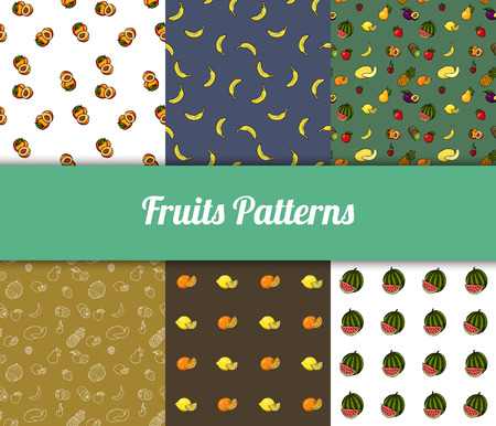 Colorful hand drawn vector fruits seamless patterns set.
