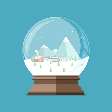 Christmas snow globe with house in the forest and mountains inside. Flat vector illustration.