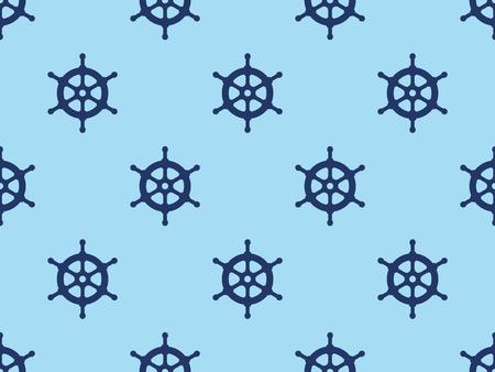 Seamless ships steering wheel vector pattern.