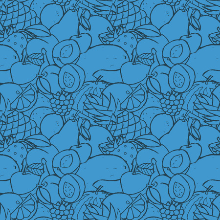 Hand drawn seamless pattern with fruits and berries.