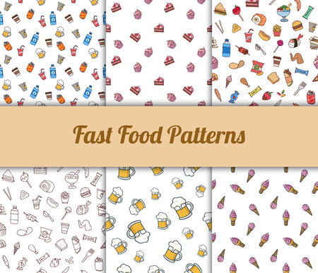 Colorful hand drawn vector fast food seamless patterns set.