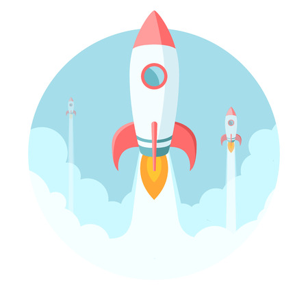 Rockets flying in the sky. Modern flat style startup illustration