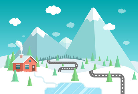lake house: Winter landscape with mountains, forest and lake. House in the forest vector flat illustration. Illustration