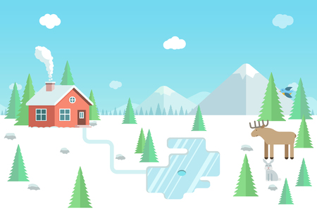 lake house: Winter landscape with wild animals, forest house, mountains and lake. Flat style illustration. Illustration