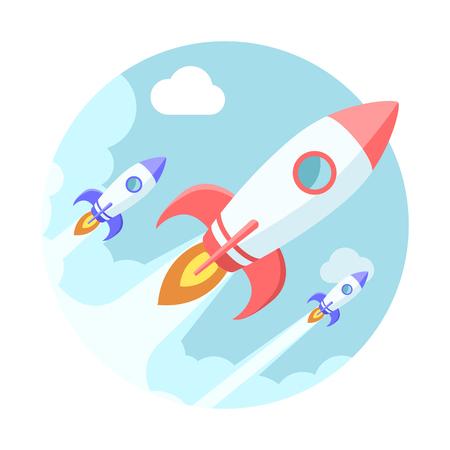 Rockets in the sky. Modern flat style illustration