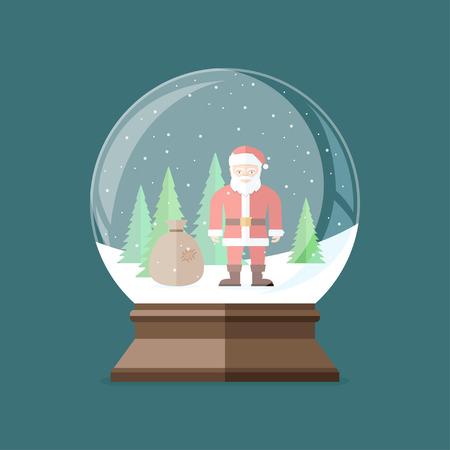 Christmas snow globe with Santa Claus inside. Flat vector illustration. Ilustrace