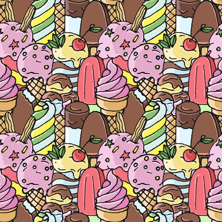 Colorful hand drawn vector ice cream with chocolate, berries and candys seamless pattern.