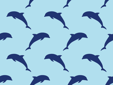 Seamless dolphins vector pattern. Ilustrace
