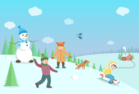 Happy kids playing winter games. Winter landscape with forest and hills. Flat style illustration.