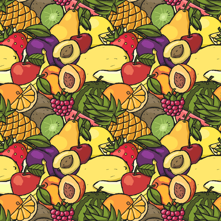 Colorful hand drawn seamless pattern with fruits and berries.