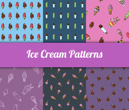 Colorful hand drawn vector ice cream seamless patterns set.