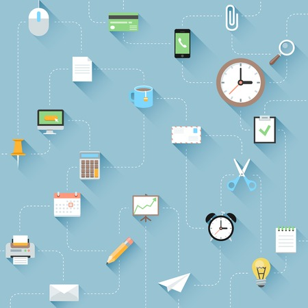 Modern flat  office icons set with long shadows