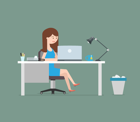 Happy woman working with laptop. Business illustration in modern flat style Ilustrace