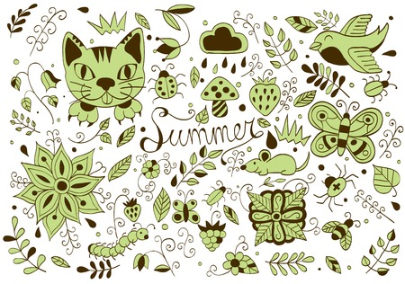 Cute hand drawn set of summer forest  elements. Doodle animals, birds, insects, herbs and flowers. Vector illustration Ilustrace