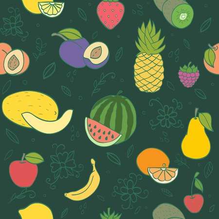 Colorful hand drawn seamless pattern with fruits and berries. Doodle pineapple, banana, watermelon, orange  peach and other juicy fruits