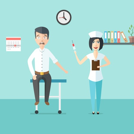 scared man: Friendly woman doctor or nurse with syringe in her hand and scared man. Doctor and patient in doctors office. Medical healthcare illustration in modern flat style
