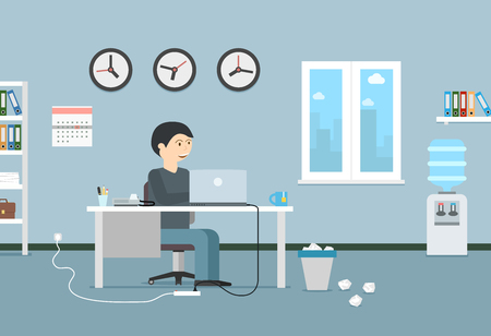 Happy businessman working with laptop. Office interior and workplace. Business illustration in modern flat style